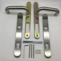 Silver Font Exterior Modern Door Handle And Locks for Aluminum Frame Door